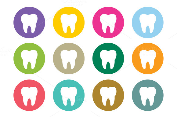 Dental Tooth Icon Vector Logo Set