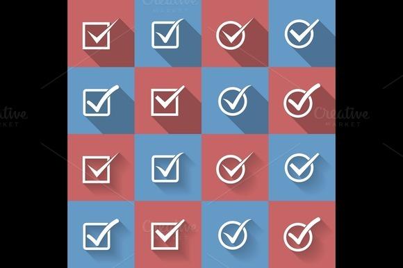 Set Of Check Mark Check Box Icons