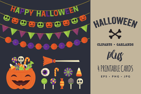 Halloween Cliparts Garlands Cards