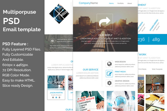 PSD Multiporpuse Email Template E1