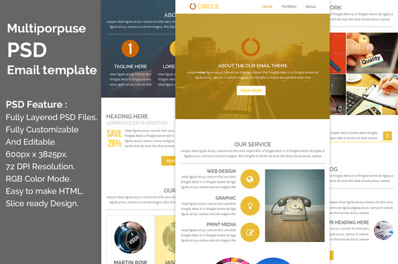 Multiporpuse PSD Email Template E6