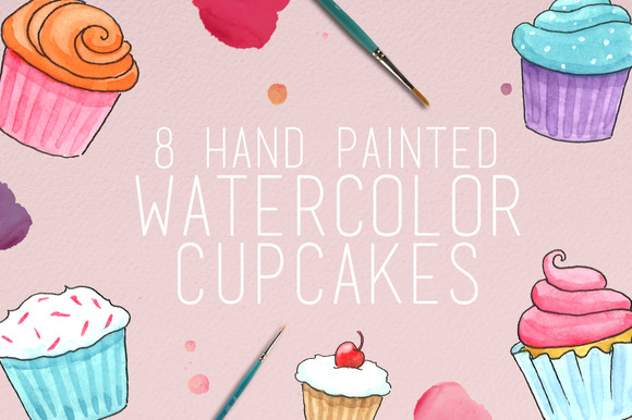 Watercolor Cupcake Illustrations