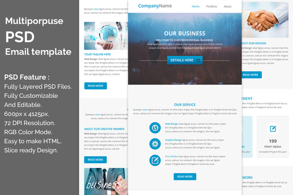 PSD Multiporpuse Email Template E8