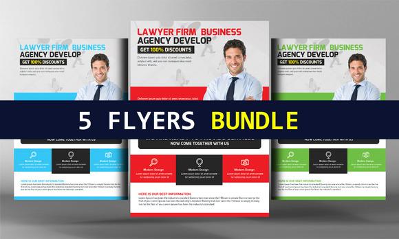 5 Lawer Firm Flyers Bundle