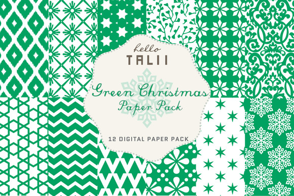 SALE Green Christmas Paper Pack
