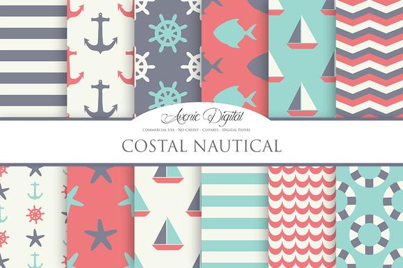 Vintage Nautical Digital Paper Pack