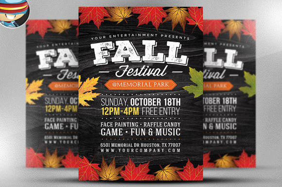 free fall festival flyer templates indesign designtube creative design content. Black Bedroom Furniture Sets. Home Design Ideas