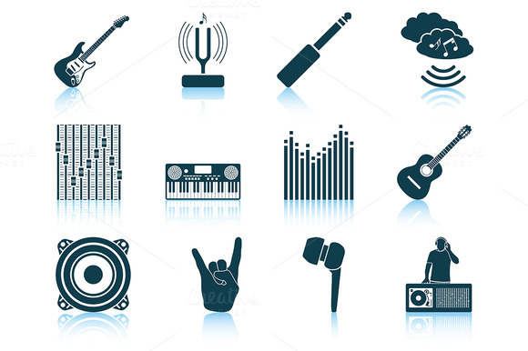 Set Of 12 Musical Icons