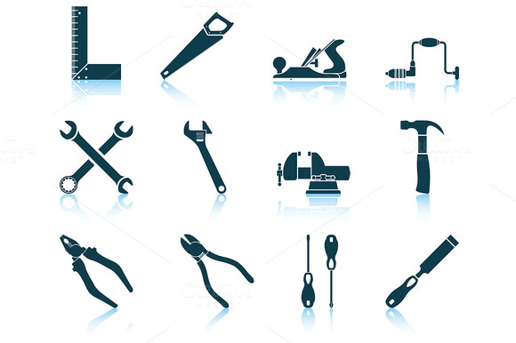 Set Of 12 Tools Icons