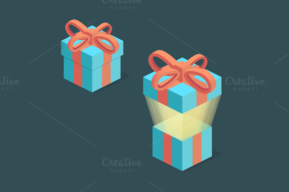 Surprise Box Isometric Present