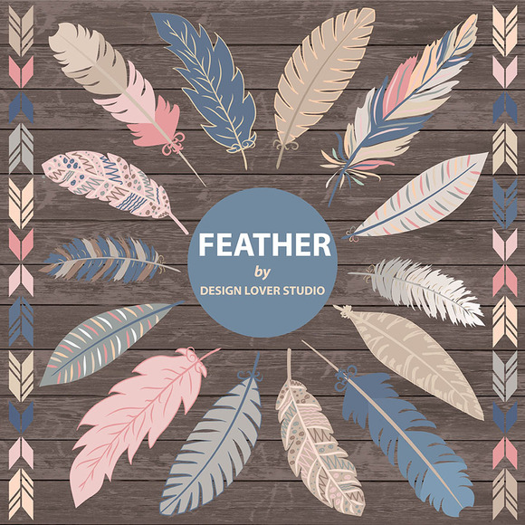 VECTOR Feather Clipart Navy Blue