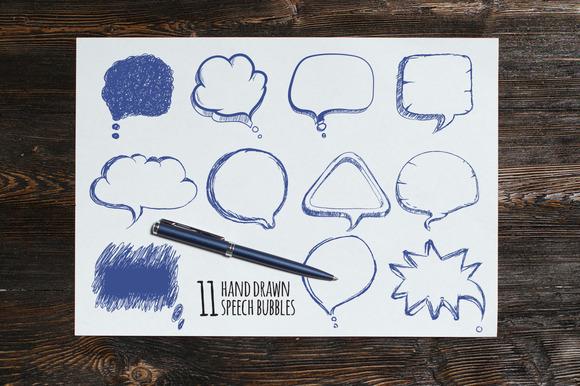 Hand Drawn Speech Bubbles Vector Set