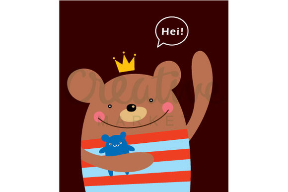 Cute Prince Bear Vector