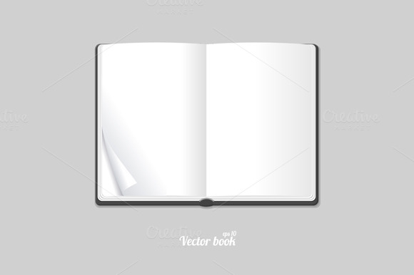 Blank White Opened Book Or Magazine