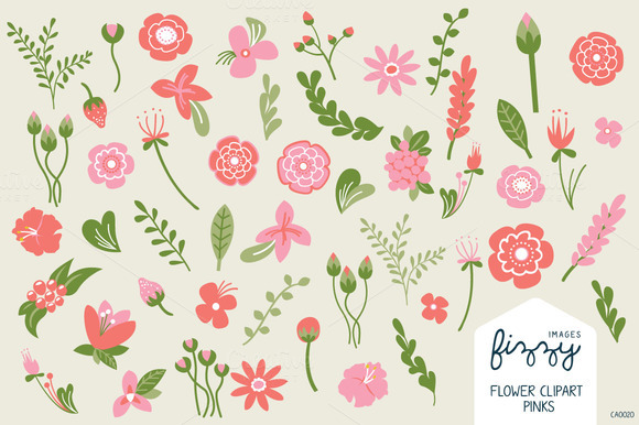 Pink Floral Illustrated Clipart Set