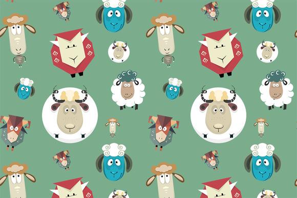 Seamless Pattern Of Cartoon Sheeps