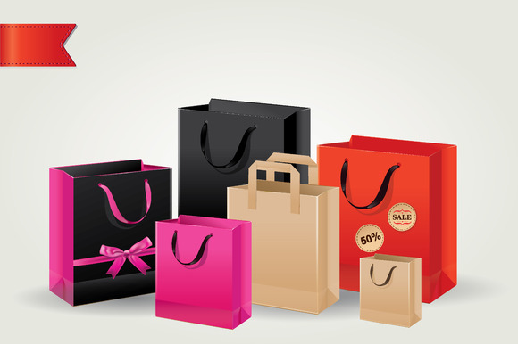 Set Of Colorful Shopping Bags