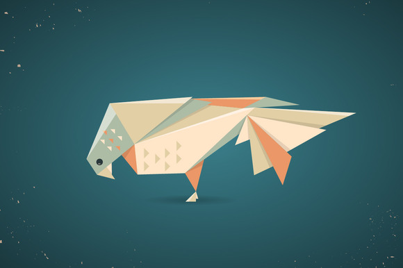 Colourful Origami Pigeon Or Dove