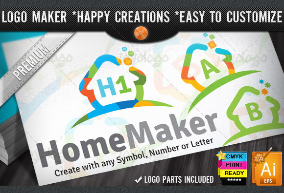 Colorful Flat Home Logo Maker Set