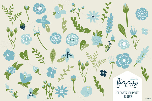 Blue Floral Illustrated Clipart Set