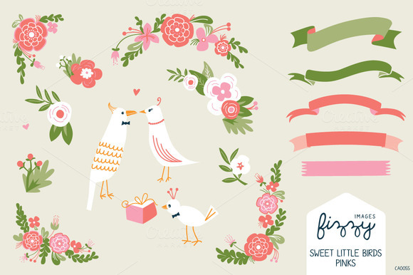 Wedding Pink Floral Birds Bundle