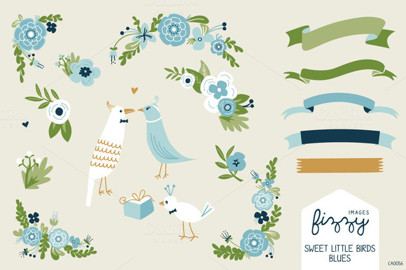 Wedding Blue Floral Birds Bundle