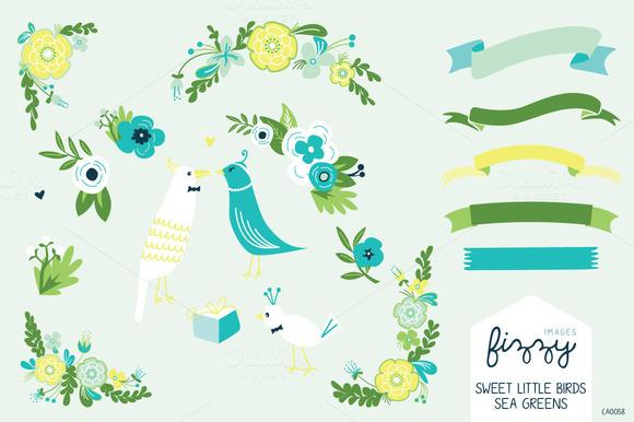 Wedding Sea Green Floral Bird Set