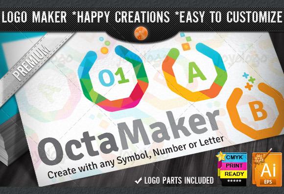 Colorful Flat Octagon Logo Maker Set
