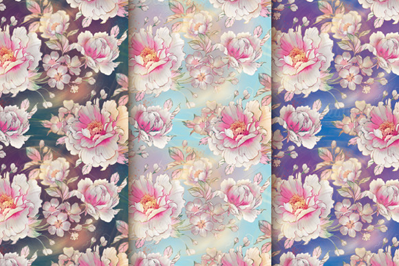 Set Of Watercolor Peony Patterns