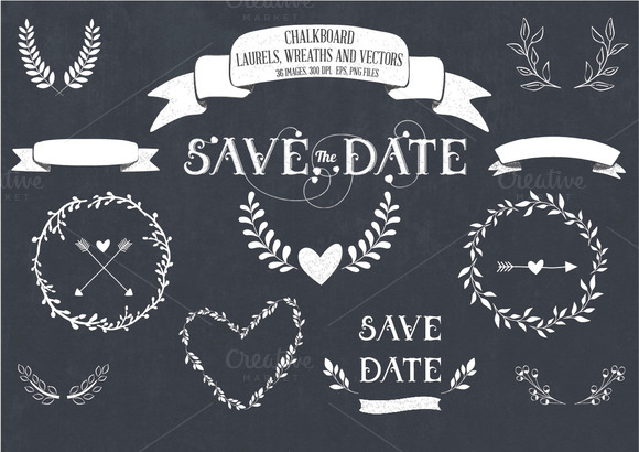 Chalkboard Laurels Wreaths Vector