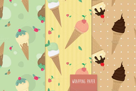 Ice Cream Pattern Vector Set