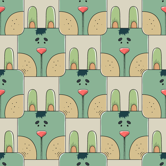 Seamless Pattern Of A Cute Rabbit