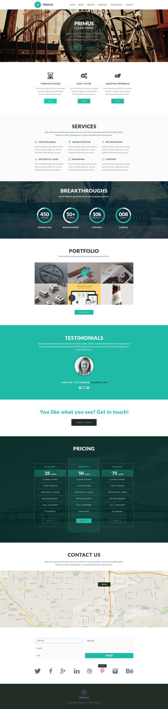Primus One Page Parallax Template