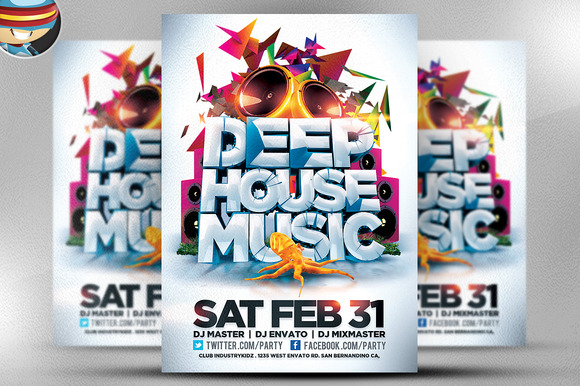 Deep House Music Flyer Template