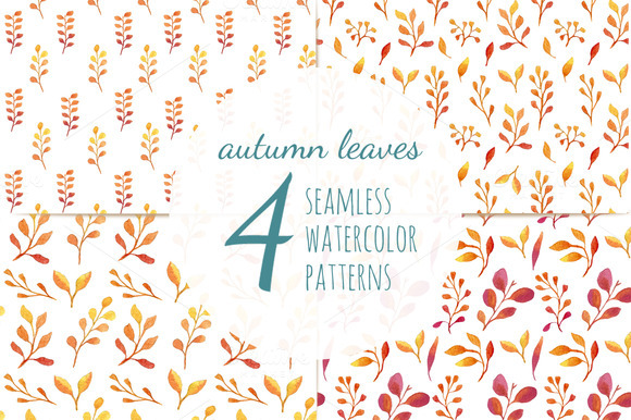 Autumn Leaves 4 Seamless Patterns