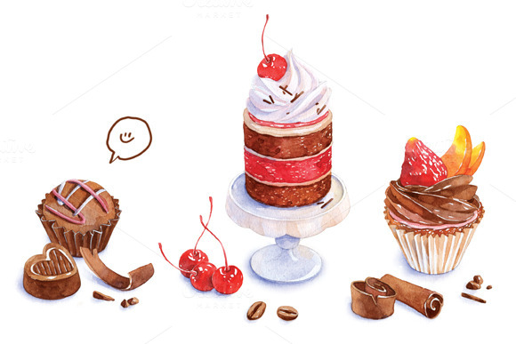 Set Of Watercolor Bakery