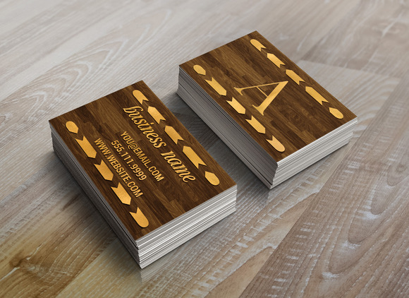 Wood Gold Foil Arrow Business Card