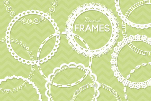 12 Round Lace Frames Clip Art II