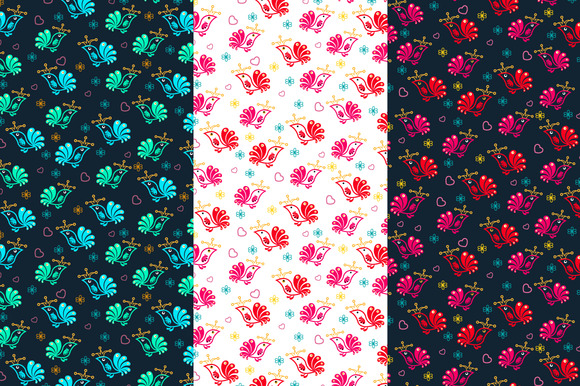 Vector Floral Birds Seamless Pattern