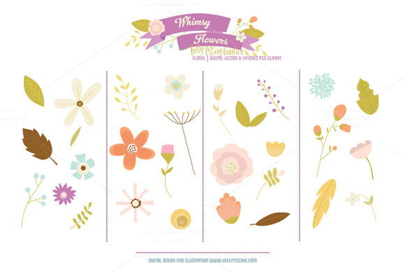 Whimsy Flowers PSD VEctor Clipart