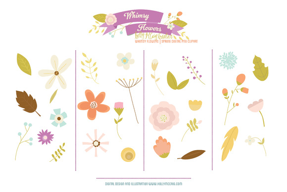Whimsy Flowers PNG Digital Clip Art