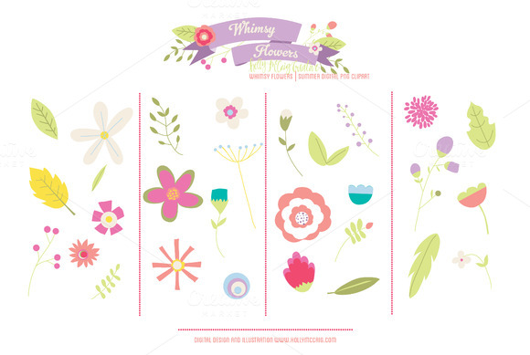 Whimsy Flowers PNG Clipart Summer