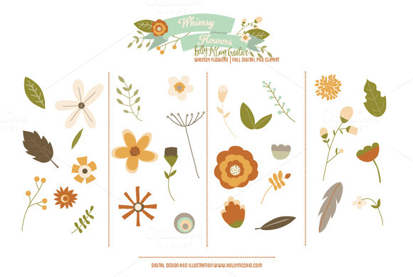 Whimsy Flowers PNG Clip Art Fall