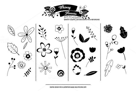 Whimsy Flowers Outlines Brushes