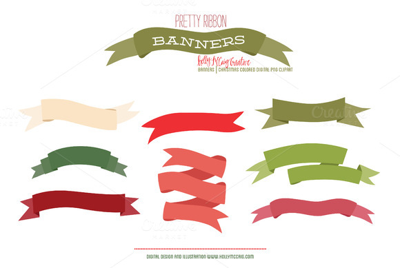 Ribbon Banner PNG Clipart Christmas