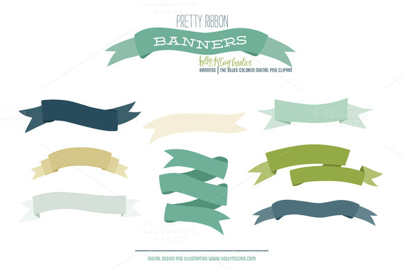 Ribbon Banner PNG Clipart Blues