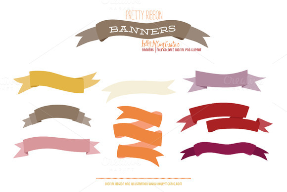 Ribbon Banner PNG Clipart Fall