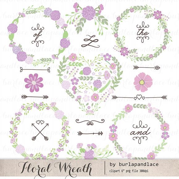 Hand Drawn Clipart Wreaths Floral
