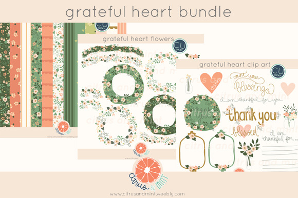 Grateful Heart Clip Art Papers
