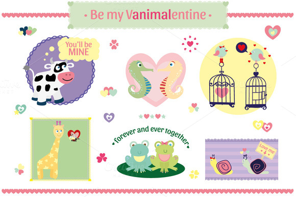 Vanimalentines Set Animals In Love